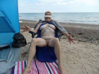 hi all back again, getting in my last chances to get naked on the beach hope you all enjoy the view. dirty comments welcome mature couple
