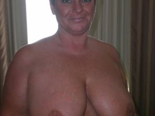My girl, huge tits, sucks good and loves to fuck, isnt she pretty?