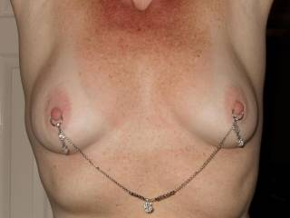 God I LOVE her pierced nipples,,, I have shot alot of cum on those tits.  Anyone else want to cum on them??? Send her the pics of you cumming on her tits!!!