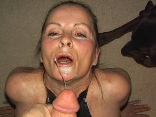 I love the way you keep your eyes open when you have cum shot all over your facee. xx