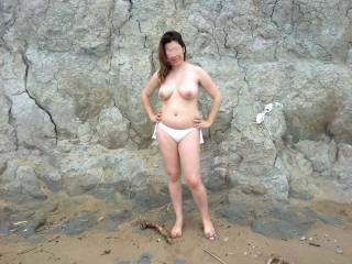 Hot sexy & stripping naked on the beach