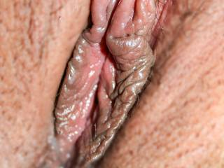 here an extreme close up of wifes sexy pussy lips