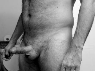 A little black and white shot of my morning hard cock