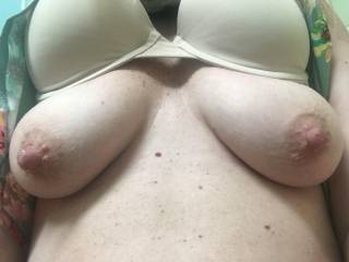 My pregnant wife sent me this while at work today. I love her big pregnant nipples!