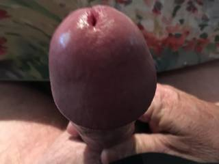 Rock hard and throbbing, here's something to aim for as you lower your pussy or mouth down on my cock.  Do you like the view?