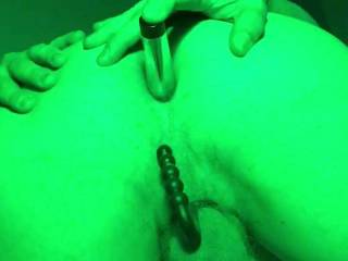 Cock ring and anal beads with a vibrating toy pleasuring myself