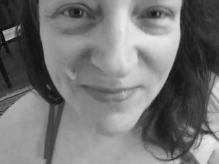 How does my first facial look in black and white? Hubby thinks more white is needed in the photo. I think my man\'s cum looks really good in monochrome.