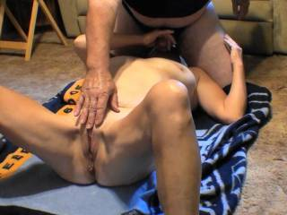 Love getting blow job in this position as I can play with those big beautiful tits and even reach down to her pussy. She would love to have a female licking/ sucking her pussy Can you see her hard clit?