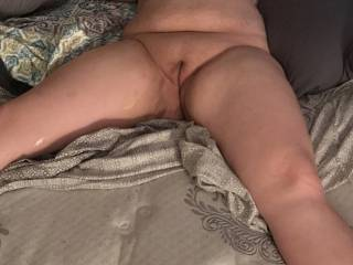 Sexually exhausted. Would anyone be man enough to spread those thighs and shove their cock in her for a round 2?