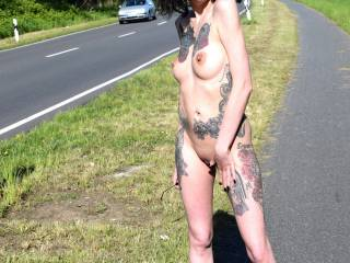 me posing nude on a public road