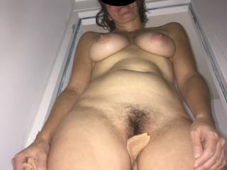 my postfuck view of my sexy girlfriend. i love when she let the cum drip of her used pussy on my but this time she was just of her periods so she prefer not...