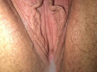 My gorgeous wife's pussy full of my cum.