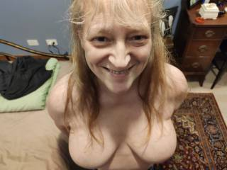I am so ready! Can you see the excitement? How about my tits? Do you want to give me a facial, dear? I so much love cum. Mmm...