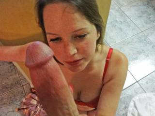 I like how she rubbed me and enjoyed my balls and cock...such a pretty girl!