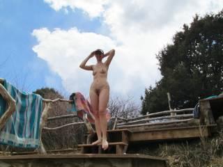 nude women walking outdoor