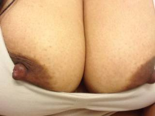 Big nipples peaking out. Looking for a mouth