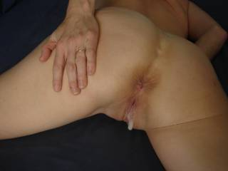 Awesome pic capturing the drippin hot results of a great fucking has my cock throbbing to go next for the most amazing sloppy seconds ever,while fingering her sweet ass,  and yes of course an second big load filling wifes hot pink pussy!