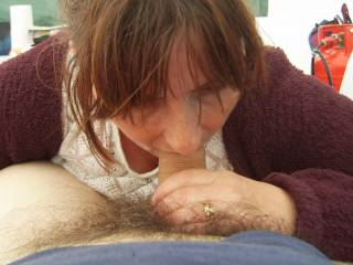 We were enjoying our camping weekend together when she wanted me to get my big cock out so as she could have a little enjoyment putting my throbbing hard-on in her lovely mouth, until she got to taste a lot of my pre-cum.