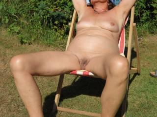 Enjoying the sun in the garden