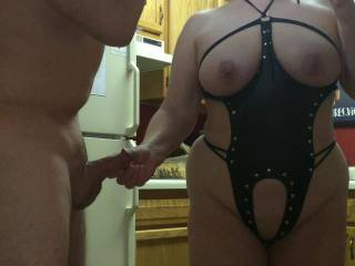 I lead my boy Seeker to the room by his cock whee he is gonna fuck me and cum all over my big milf titties!
