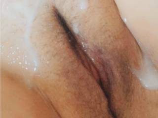 Just a cum covered pre-shaven pussy, do you want to add some more? 🤪