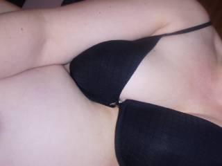 Nat in her bra before giving Jo a handjob.