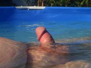 my cock getting hard in the pool