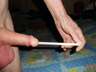 Sounding my cock with a 9 inch, 3mm ceramic rod.