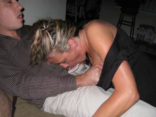 We invited college neighbor over to fuck my wife..started sucking him first