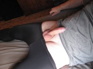 The start of a morning erection after wearing my favorite spandex pants to bed.