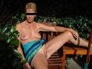 Friend of mine showing her freshly shaved pussy on hotel balcony