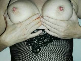 my nice tits, with hard nipples while hubby fucks me in my tight ass!