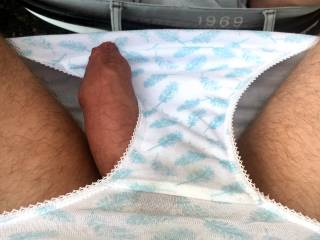Being naughty and playing with my cock in little cotton knickers outdoors