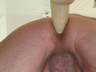 Just cannot get enough of my 10 inch long...5 inch circumference suction cup dildo in my bathroom while my wife watches tv. Anyone offering to pound my ass?
