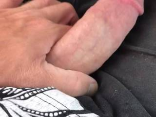 Watching my secret lover get hard in public, would you ladies like to share this cock with me?