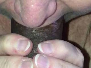 Close up of the playmate sucking my dick