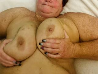 Her big round tits waiting for cum