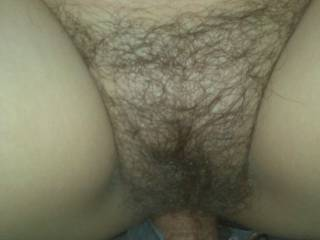 i would love to be my cock there , deep inside in her hairy pussy !