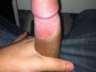 Mmmm, yes it sure is a hard cock...with a delicious big head on it.  Would you enjoy watching an older Asian woman suck it?  K