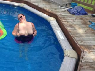 Kitten flashing me in the pool... her parents and inlaws where there...  she is a naughty girl