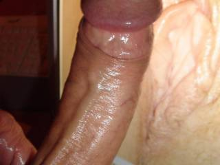Love Coan's huge hot cock on my pussy lips!!