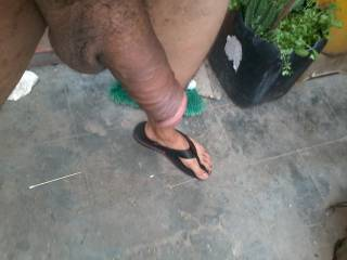semi erect cock & feet