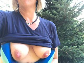 Expose by the Christmas trees....kind of a nice place to be naughty outdoors.... Wonder if the neighbors are peeking?