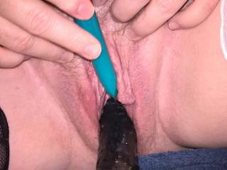 It feels sooo good to vibrate my clit when I have a dildo shoved up my hungry wet cunt!