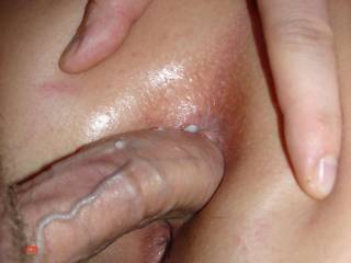 great pic! Nice cock and love the throbbing veins! Love to be lickingher sopping clit and pussy while you dive deep in her ass!