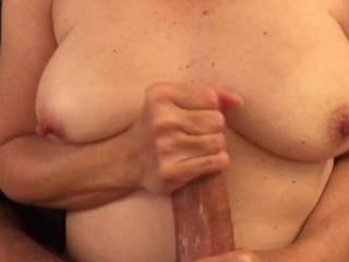 Stroking my cock before I fuck her