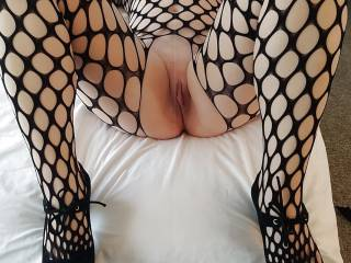 Fishnet stockings and  heels