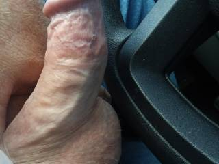 Stroking my cock in a public parking lot at lunchtime while edging and talking with  Moongoddess about all kinds of dirty things!!