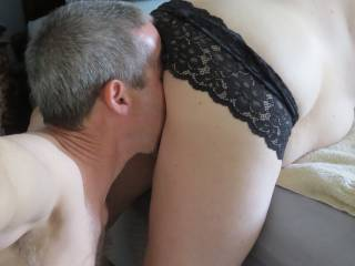 I love to eat her through her soaked panties.