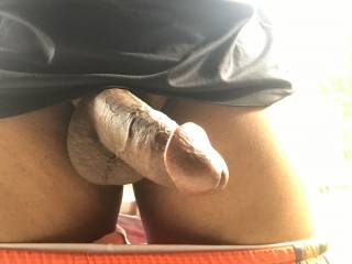 Dick out outdoors again